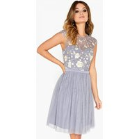 Little Mistress Embroidered Prom Dress  size: 16 UK, colour: Grey