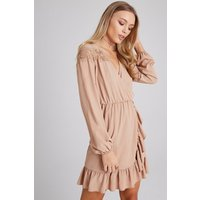 Girls on Film Dahlia Beige Lace And Frill Wrap Dress size: 14 UK, colo