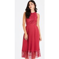 Nadja Red Lace Pleat Midi Dress