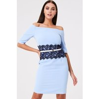 Paper Dolls Lowndes Blue Bardot Dress With Lace Waist size: 16 UK, col