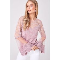 Image of Girls on Film Carnation Dusty Pink Lace Flute Sleeve Top size: 12 UK,