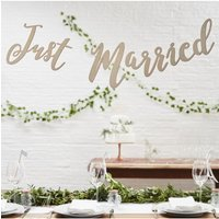 Ginger Ray Botanics Wooden Just Married Script Bunting
