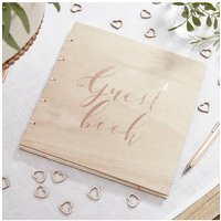 Ginger Ray Botanics Rose Gold Wooden Guest Book