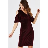 Girls on Film Tribeca Red Cold Shoulder Dress size: 14 UK, colour: Bur