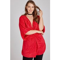 Girls On Film Curvy Pontiac Red Plisse Knot Top size: 22 UK, colour: R