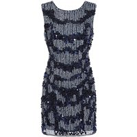 Little Mistress Kimmy Navy Hand Embellished Mini Dress size: 12 UK, co