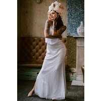 Rock n Roll Bride Astral White Embellished Maxi Dress size: 10 UK, col