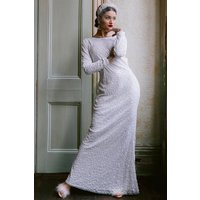Rock n Roll Bride Pandora White Embellished Maxi Dress size: 8 UK, col