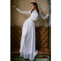 Rock n Roll Bride Athena White Maxi Skirt Co-ord size: 10 UK, colour: