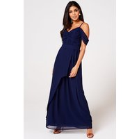 Rock n Roll Bride Cameo Navy Draped Maxi Dress size: 16 UK, colour: Na