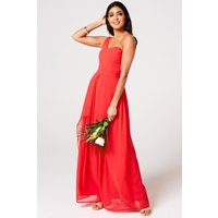 Libra Fiery Coral One-Shoulder Maxi Dress
