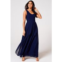 Rock n Roll Bride Libra Navy One-Shoulder Maxi Dress size: 16 UK, colo