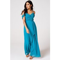 Rock n Roll Bride Cameo Blue Jewel Draped Maxi Dress size: 14 UK, colo