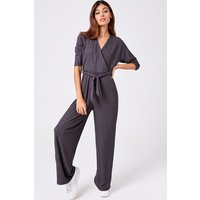 Girls on Film Lithe Charcoal Wide-Leg Jumpsuit size: 10 UK, colour: Ch