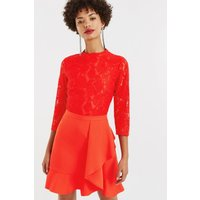 Oasis Lace Top Flounce Shift size: 8 UK, colour: Mid Red