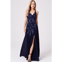 Little Mistress Rylie Navy Hand-Embellished Maxi Dress size: 16 UK, co