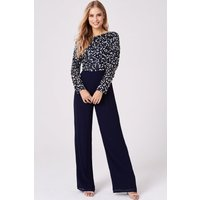 Little Mistress Brice Navy Hand-Embellished Sequin Jumpsuit size: 6 UK
