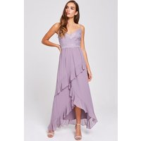 Little Mistress Paige Lavender Lace And Frill Maxi Dress size: 6 UK, c