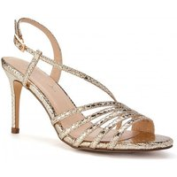 Image of Paradox London Hailey Gold High Heel Snake Print Caged Sandal size: Fo