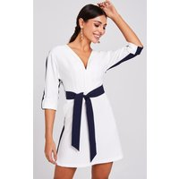 Paper Dolls Warner Navy And White Colour-Block Shift Dress size: 10 UK