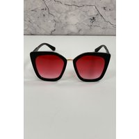 Mustique Black And Pink Modern Minimal Square Sunglasses colour: Pink