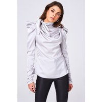 Little Mistress Florida Grey Satin Bow Statement Shoulder Top size: L,