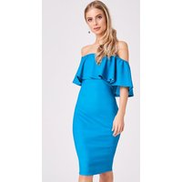 Girls on Film Candice Turquoise Ruffle Bardot Bodycon Dress size: 6 UK