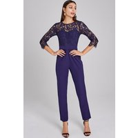 Paper Dolls Darley Navy Scallop Lace Jumpsuit size: 6 UK, colour: Navy