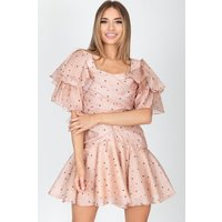 Nori Blush Polka Dot Ruffle Sleeve Mini Dress