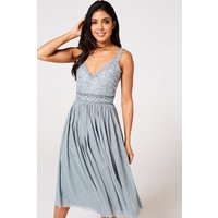 Serena Cornflower Sequin And Frill Midi Dress