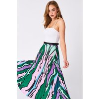Shapiro Green And Pink Pleated Skirt size: S, colour: Multi Green