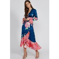Blue Wrap Dress With Red Frill Bottom