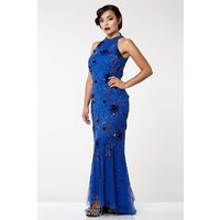 Image of Gatsbylady London Agnes Vintage Inspired Maxi Prom Dress in Royal Blue