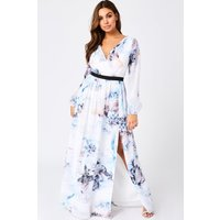 Little Mistress Lea Blur-Print Mock Wrap Maxi Dress size: 10 UK, colou