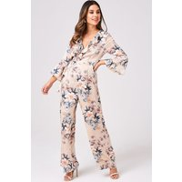 Girls on Film Twilight Floral-Print Wrap Jumpsuit size: 8 UK, colour: