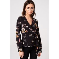 Girls on Film Printed Wrap Top size: 8 UK, colour: Black