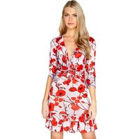 Girls on Film Poppy Print Wrap Dress size: 12 UK, colour: Print