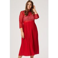 Little Mistress Curvy Alice Red Crochet Top Dress With Pleated Skirt s