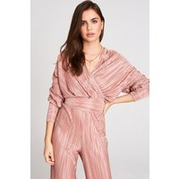 Girls on Film Leandra Pink Plisse Top Co-Ord size: 6 UK, colour: Dusty