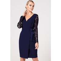 Paper Dolls Sapporo Navy Lace Sleeve Wrap Dress size: 6 UK, colour: Na