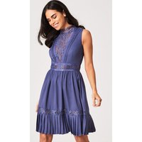 Little Mistress Anais Lavender Grey Lace-Trim Skater Dress size: 8 UK,