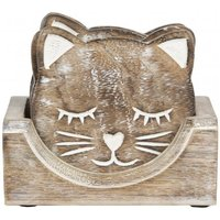 Sass & Belle Wooden Carved Cat Coaster - Set of 6 colour: Brown
