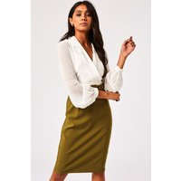 Paper Dolls Anjo Olive Belted Shirt Dress size: 14 UK, colour: Olive