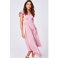 Girls on Film Halo Pink Floral-Print Satin Hanky Hem Midi Dress size:
