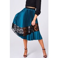 Girls on Film Freyja Green Pleated Lace Midi Skirt size: 8 UK, colour: