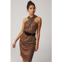 Paper Dolls Lumen Copper Lurex Crossover Neck Belted Dress  size: 14 U