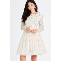 Little Mistress Karmi Nude Hand-Embellished Skater Dress size: 6 UK, c