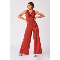 Girls on Film Clarion Rust Cowl-Neck Wide-Leg Jumpsuit size: 16 UK, co