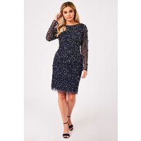 Little Mistress Jenny Navy Sequin Bodycon Dress size: 12 UK, colour: N