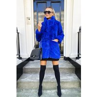 Cari's Closet Lola Faux Fur Jacket in Royal Blue size: Large, col